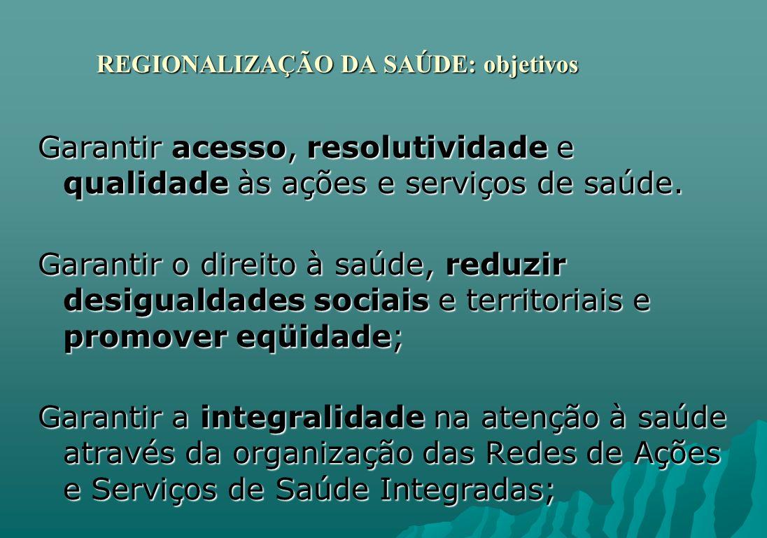 REGIONALIZAÇÃO DA SAÚDE: objetivos