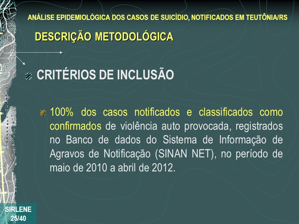 CRITÉRIOS DE INCLUSÃO DESCRIÇÃO METODOLÓGICA