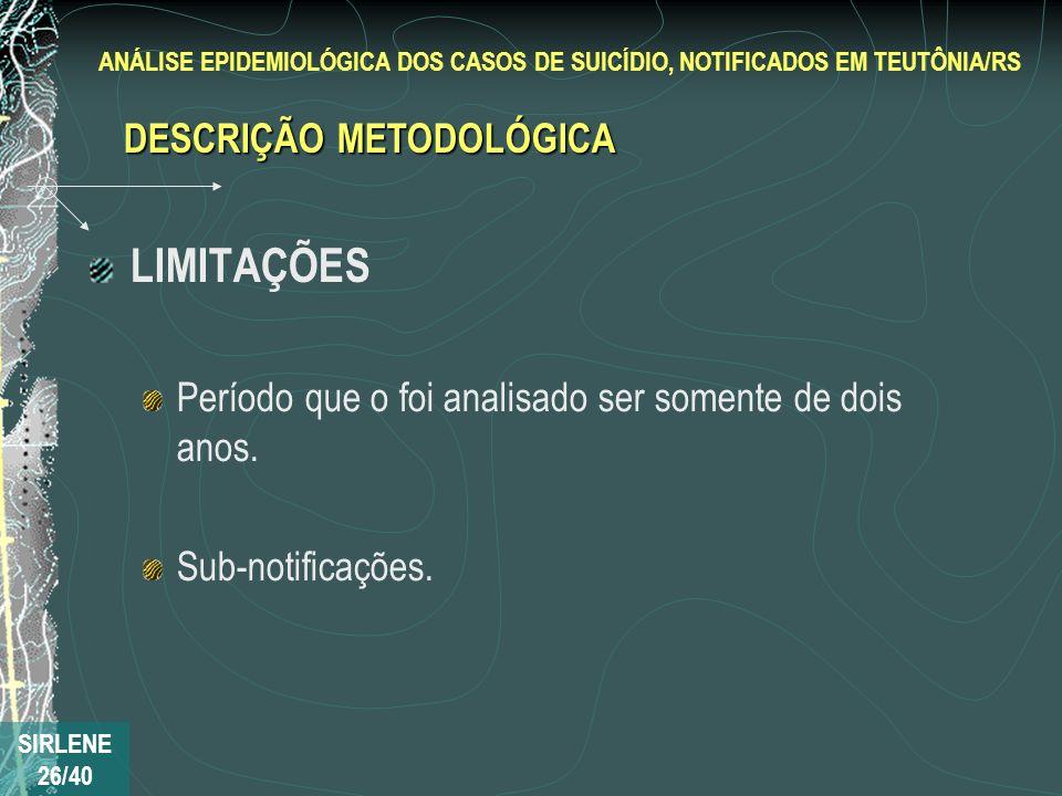 LIMITAÇÕES DESCRIÇÃO METODOLÓGICA