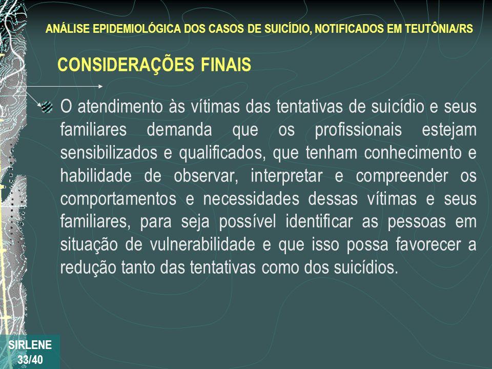 ANÁLISE EPIDEMIOLÓGICA DOS CASOS DE SUICÍDIO, NOTIFICADOS EM TEUTÔNIA/RS