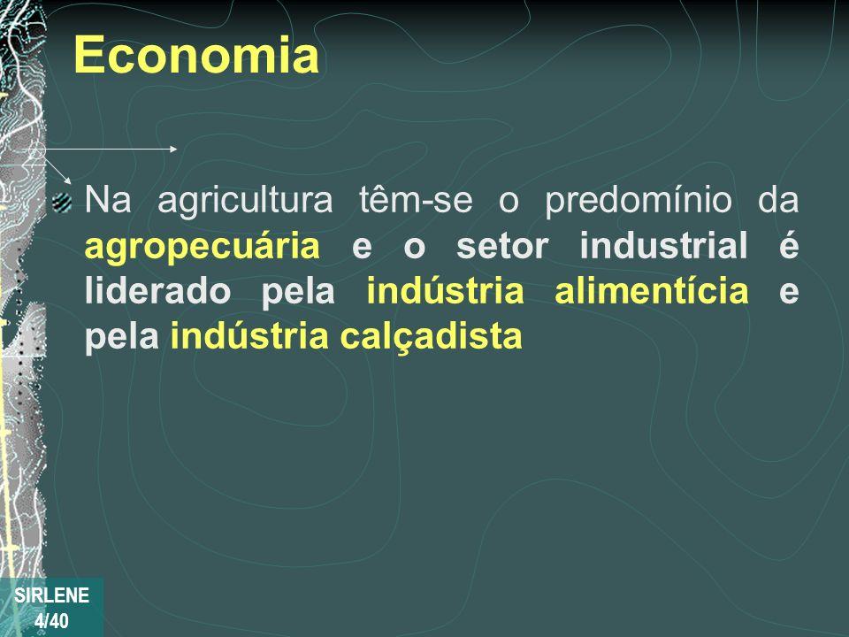 Economia Na agricultura têm-se o predomínio da agropecuária e o setor industrial é liderado pela indústria alimentícia e pela indústria calçadista.