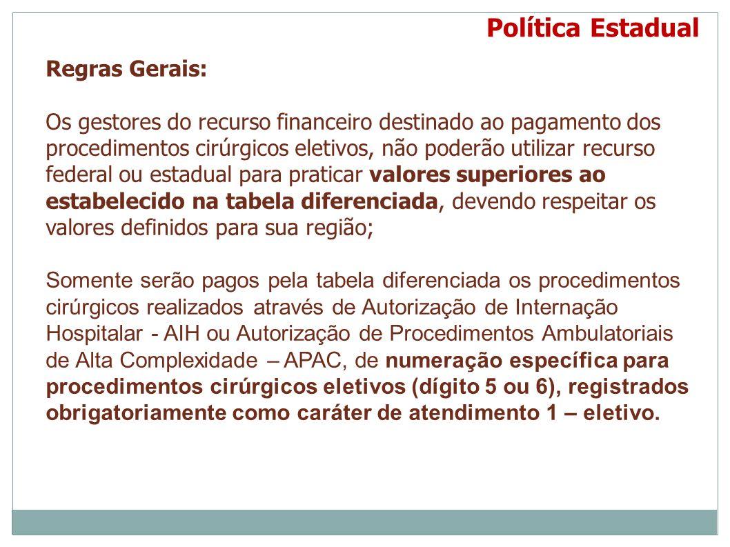 Política Estadual Regras Gerais: