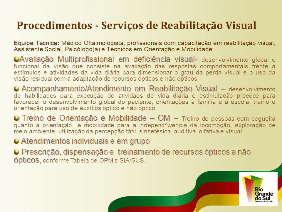 Procedimentos - Serviços de Reabilitação Visual