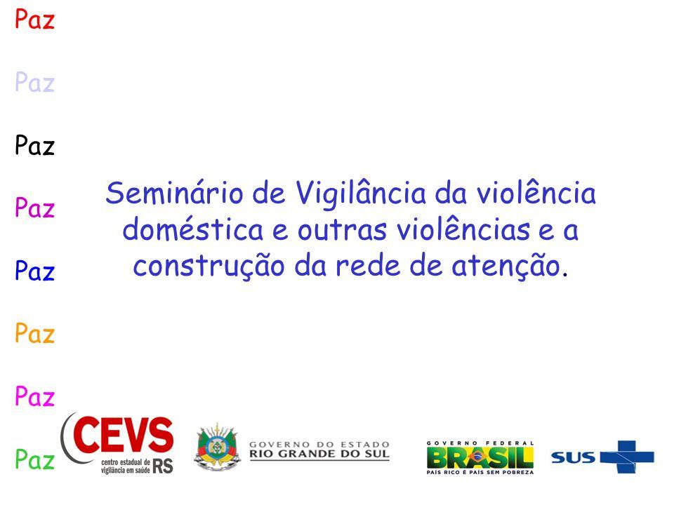 Paz Seminário de Vigilância da violência doméstica e outras violências e a construção da rede de atenção.