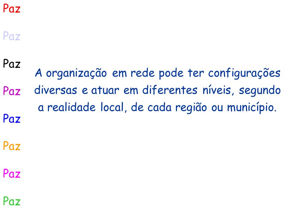 PazA organização em rede pode ter configurações diversas e atuar em diferentes níveis, segundo a realidade local, de cada região ou município.