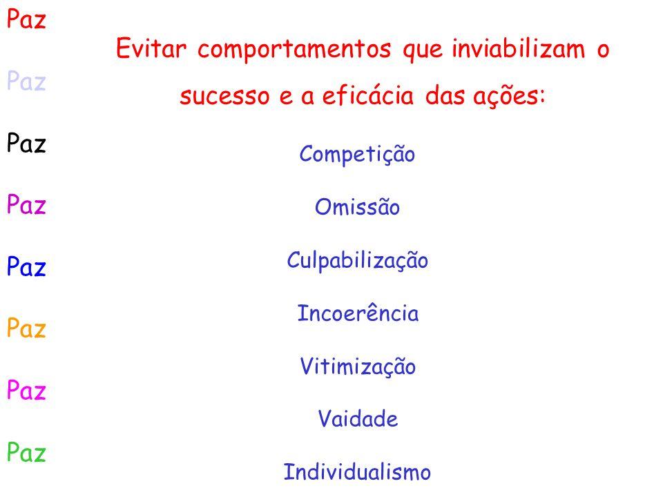 Paz Evitar comportamentos que inviabilizam o sucesso e a eficácia das ações: Competição. Omissão.