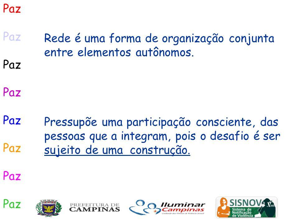 PazRede é uma forma de organização conjunta entre elementos autônomos.