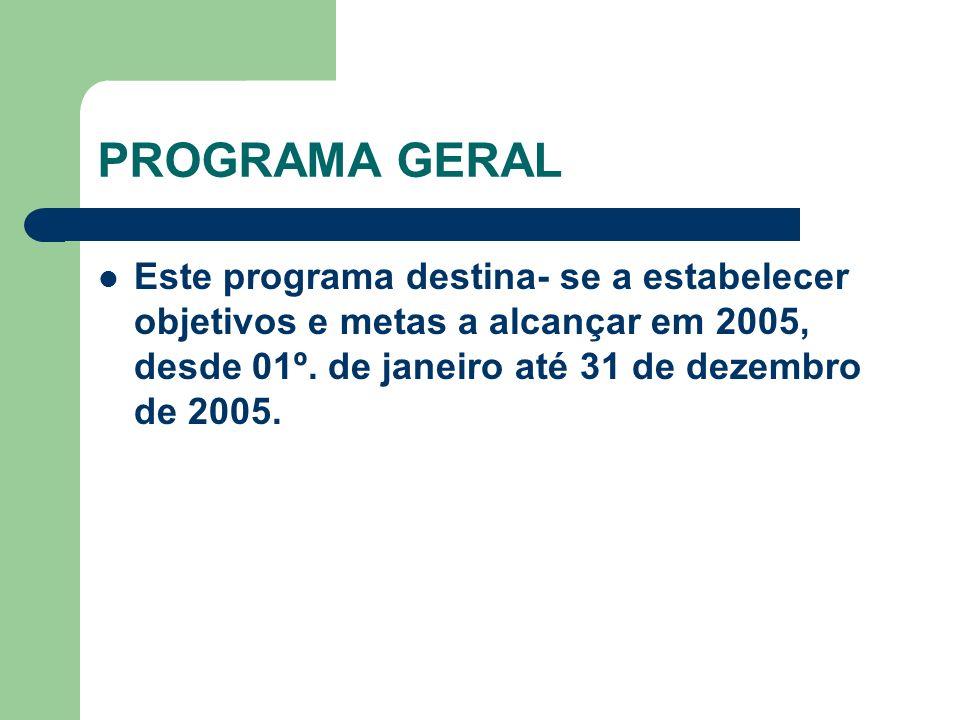 PROGRAMA GERAL Este programa destina- se a estabelecer objetivos e metas a alcançar em 2005, desde 01º.