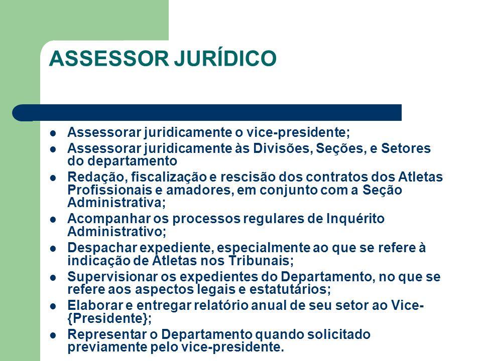 ASSESSOR JURÍDICO Assessorar juridicamente o vice-presidente;