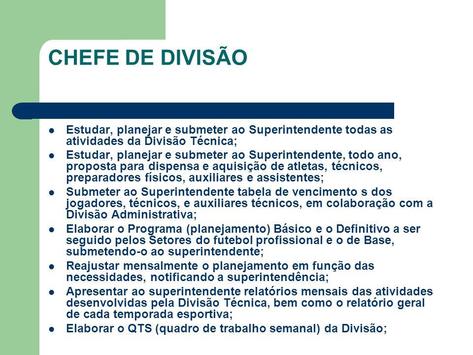 CHEFE DE DIVISÃO Estudar, planejar e submeter ao Superintendente todas as atividades da Divisão Técnica;