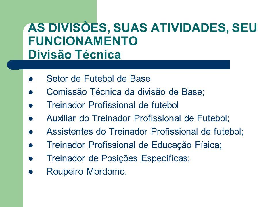 AS DIVISÒES, SUAS ATIVIDADES, SEU FUNCIONAMENTO Divisão Técnica