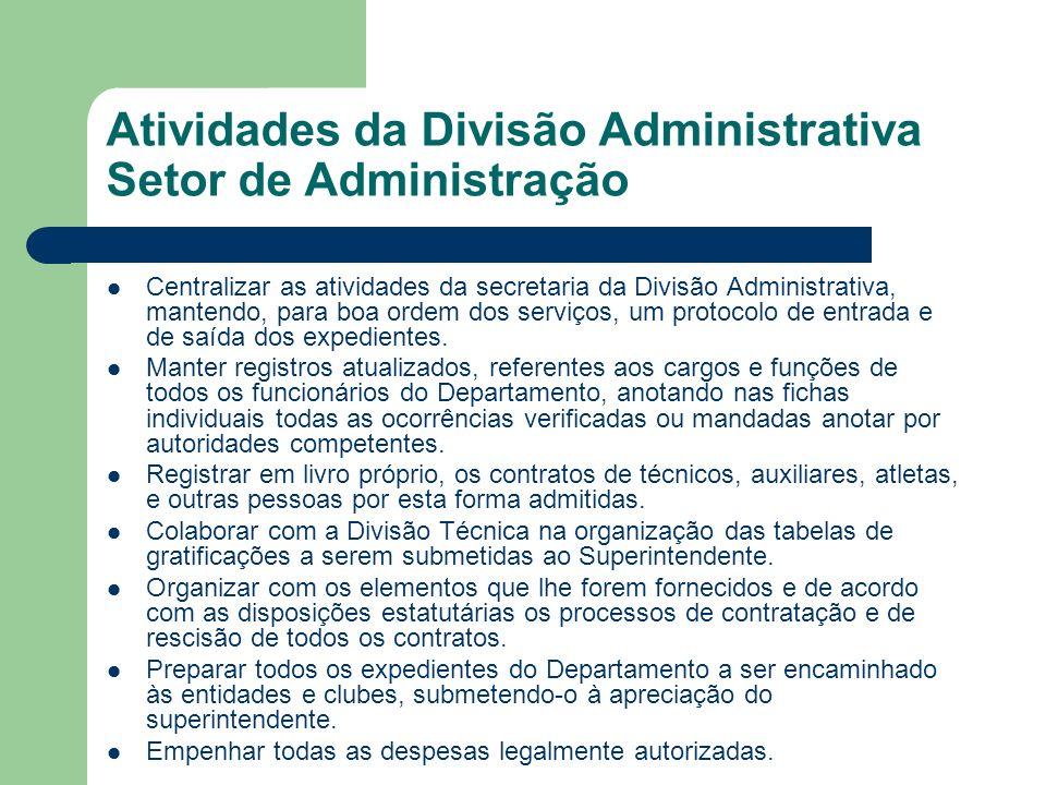 Atividades da Divisão Administrativa Setor de Administração