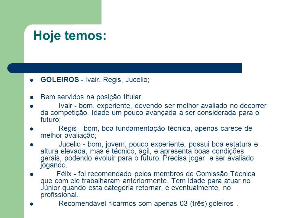 Hoje temos: GOLEIROS - Ivair, Regis, Jucelio;