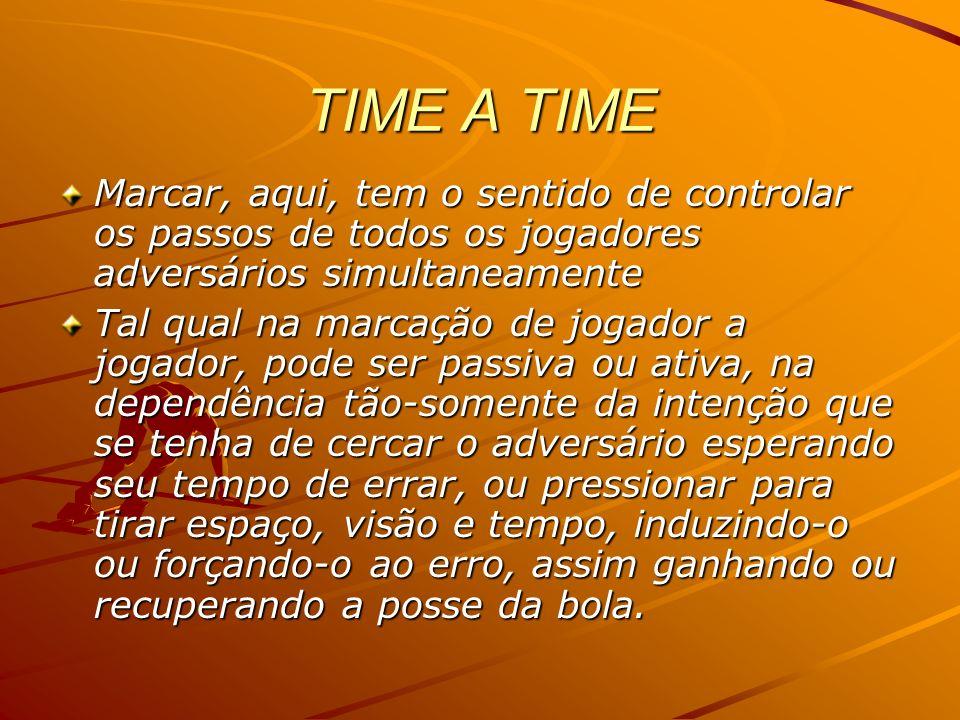 TIME A TIMEMarcar, aqui, tem o sentido de controlar os passos de todos os jogadores adversários simultaneamente.