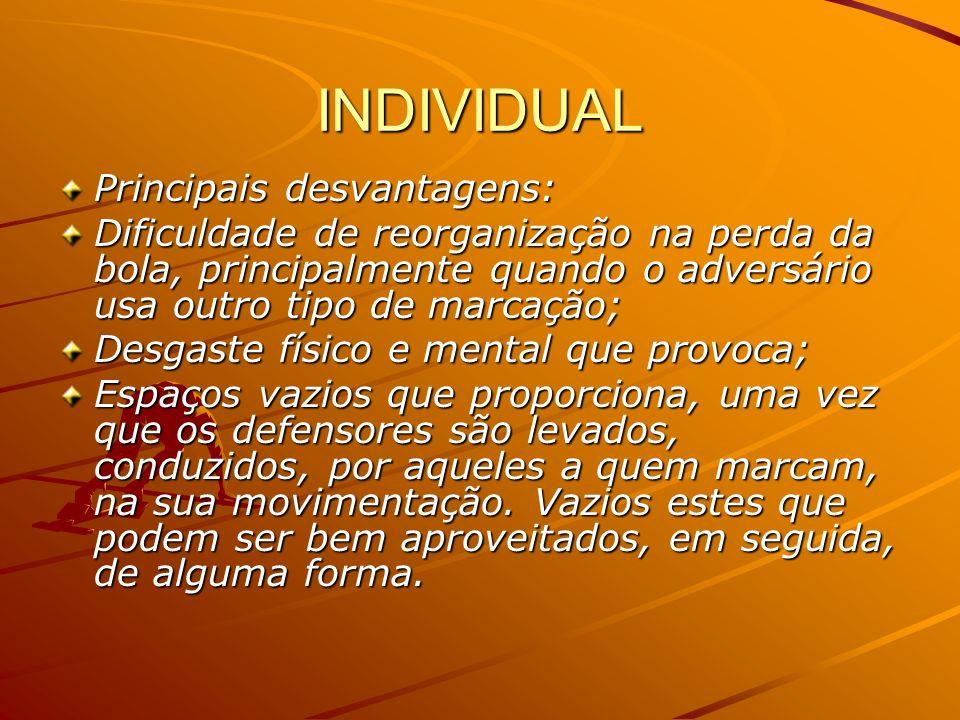 INDIVIDUAL Principais desvantagens: