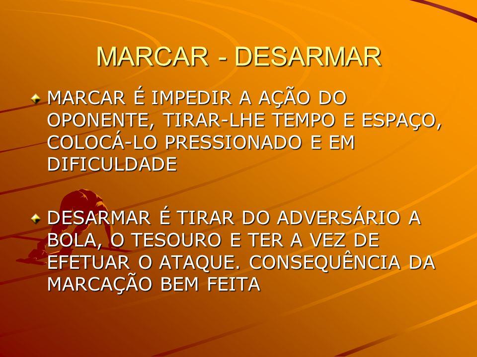 MARCAR - DESARMAR MARCAR É IMPEDIR A AÇÃO DO OPONENTE, TIRAR-LHE TEMPO E ESPAÇO, COLOCÁ-LO PRESSIONADO E EM DIFICULDADE.