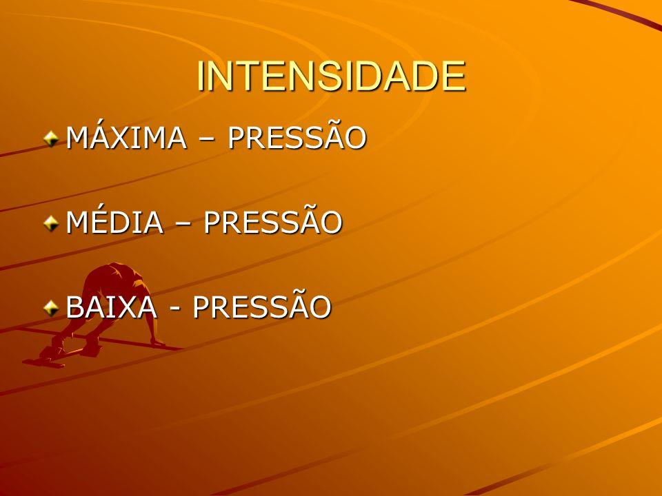 INTENSIDADE MÁXIMA – PRESSÃO MÉDIA – PRESSÃO BAIXA - PRESSÃO