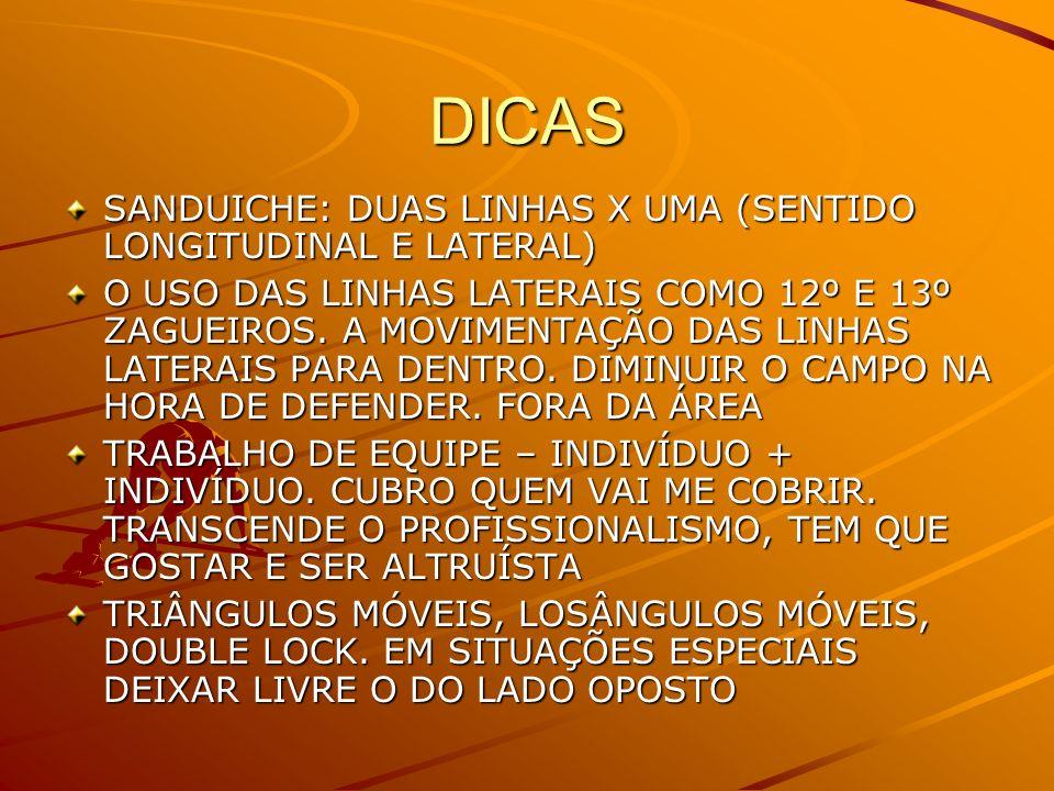 DICAS SANDUICHE: DUAS LINHAS X UMA (SENTIDO LONGITUDINAL E LATERAL)