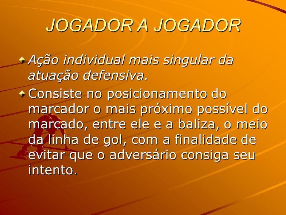 JOGADOR A JOGADOR Ação individual mais singular da atuação defensiva.