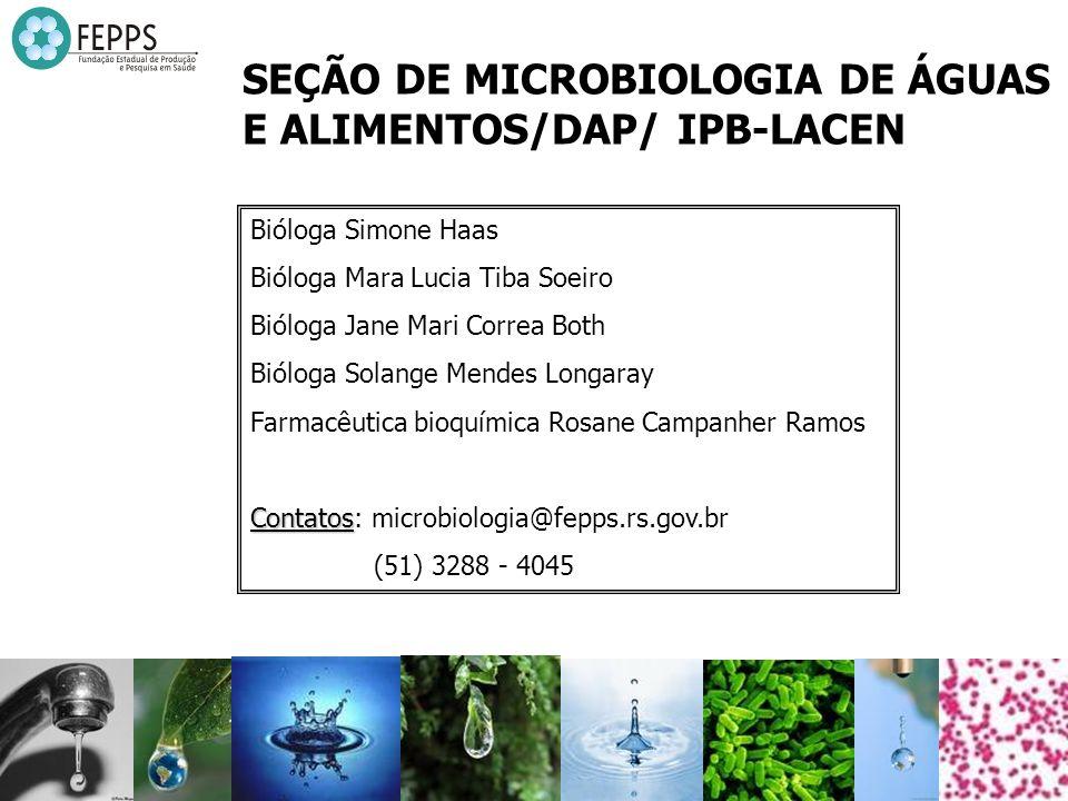 SEÇÃO DE MICROBIOLOGIA DE ÁGUAS E ALIMENTOS/DAP/ IPB-LACEN