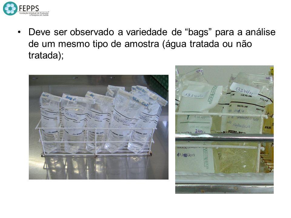 Deve ser observado a variedade de bags para a análise de um mesmo tipo de amostra (água tratada ou não tratada);