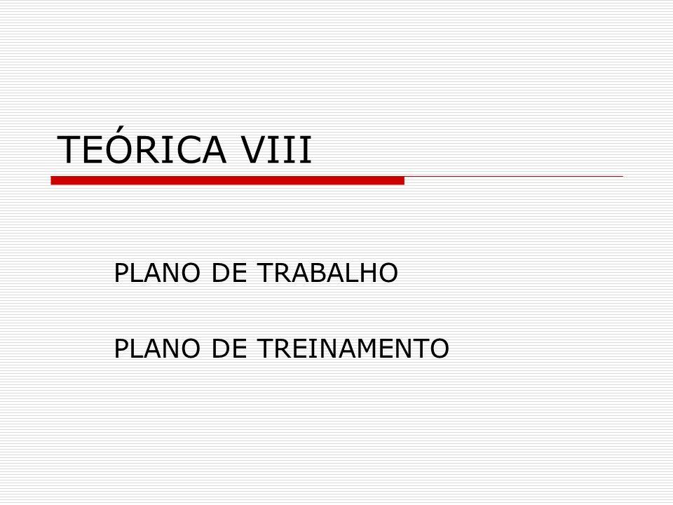 PLANO DE TRABALHO PLANO DE TREINAMENTO