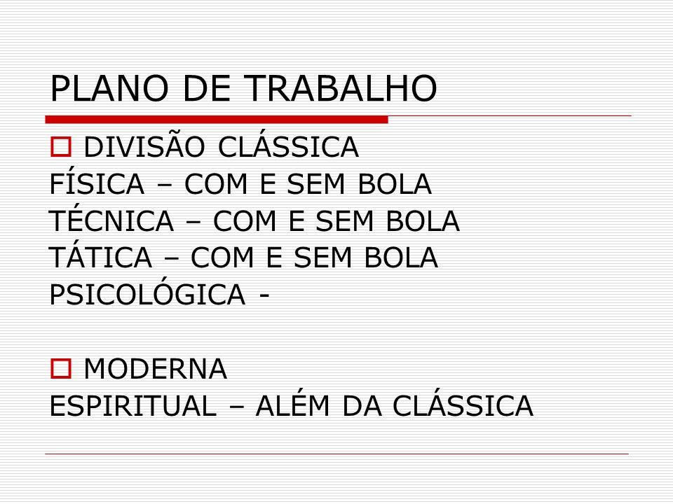 PLANO DE TRABALHO DIVISÃO CLÁSSICA FÍSICA – COM E SEM BOLA