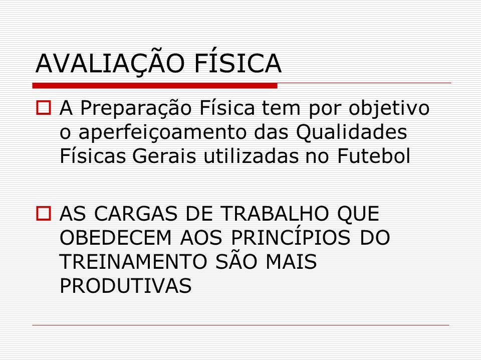 AVALIAÇÃO FÍSICAA Preparação Física tem por objetivo o aperfeiçoamento das Qualidades Físicas Gerais utilizadas no Futebol.