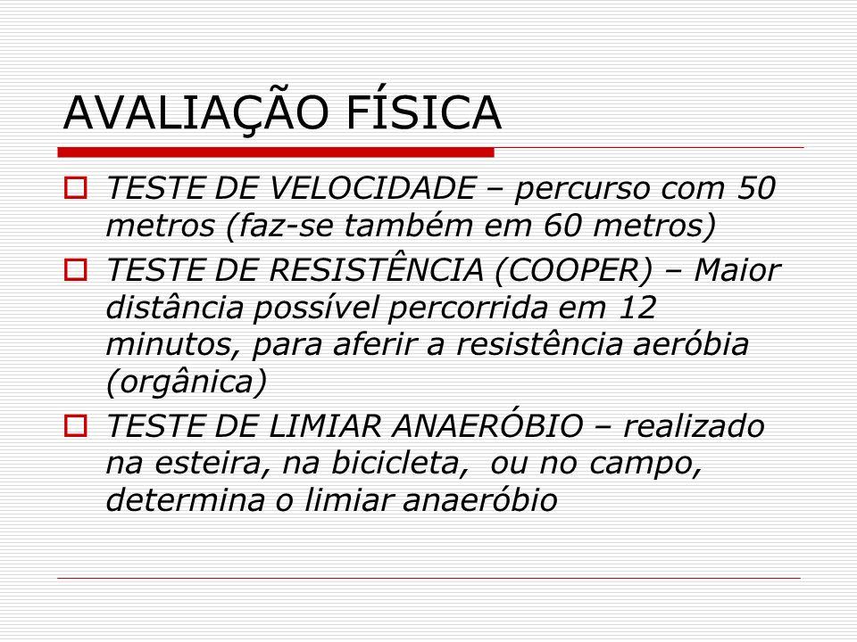 AVALIAÇÃO FÍSICA TESTE DE VELOCIDADE – percurso com 50 metros (faz-se também em 60 metros)