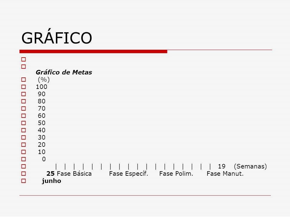 GRÁFICO Gráfico de Metas (%) 100 90 80 70 60 50 40 30 20 10