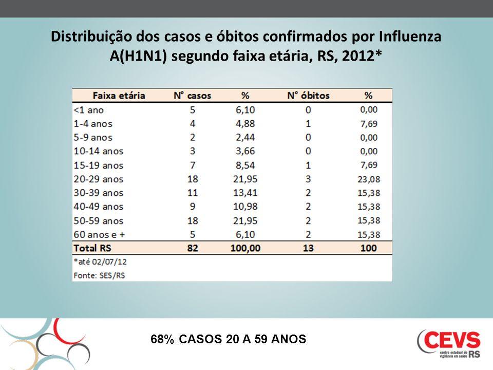Distribuição dos casos e óbitos confirmados por Influenza A(H1N1) segundo faixa etária, RS, 2012*