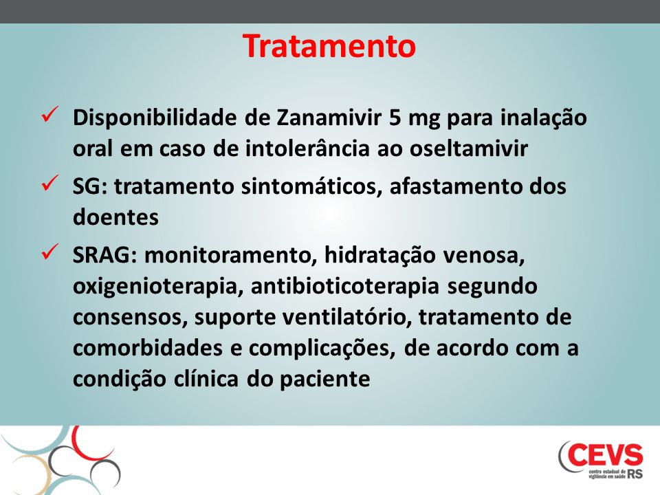 Tratamento Disponibilidade de Zanamivir 5 mg para inalação oral em caso de intolerância ao oseltamivir.