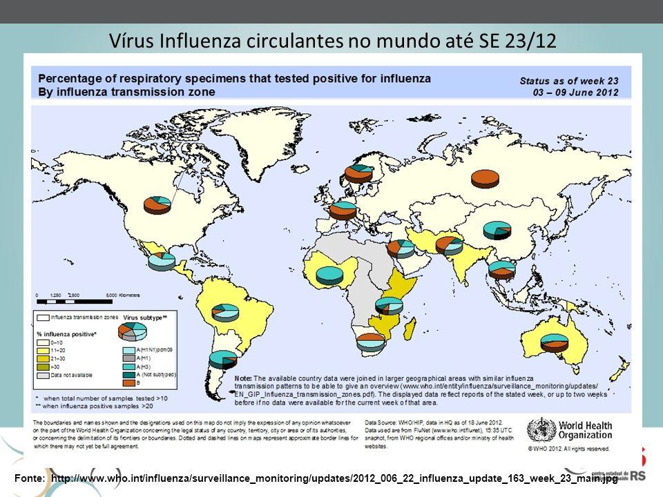 Vírus Influenza circulantes no mundo até SE 23/12