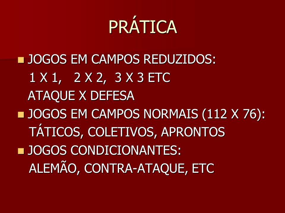 PRÁTICA JOGOS EM CAMPOS REDUZIDOS: 1 X 1, 2 X 2, 3 X 3 ETC