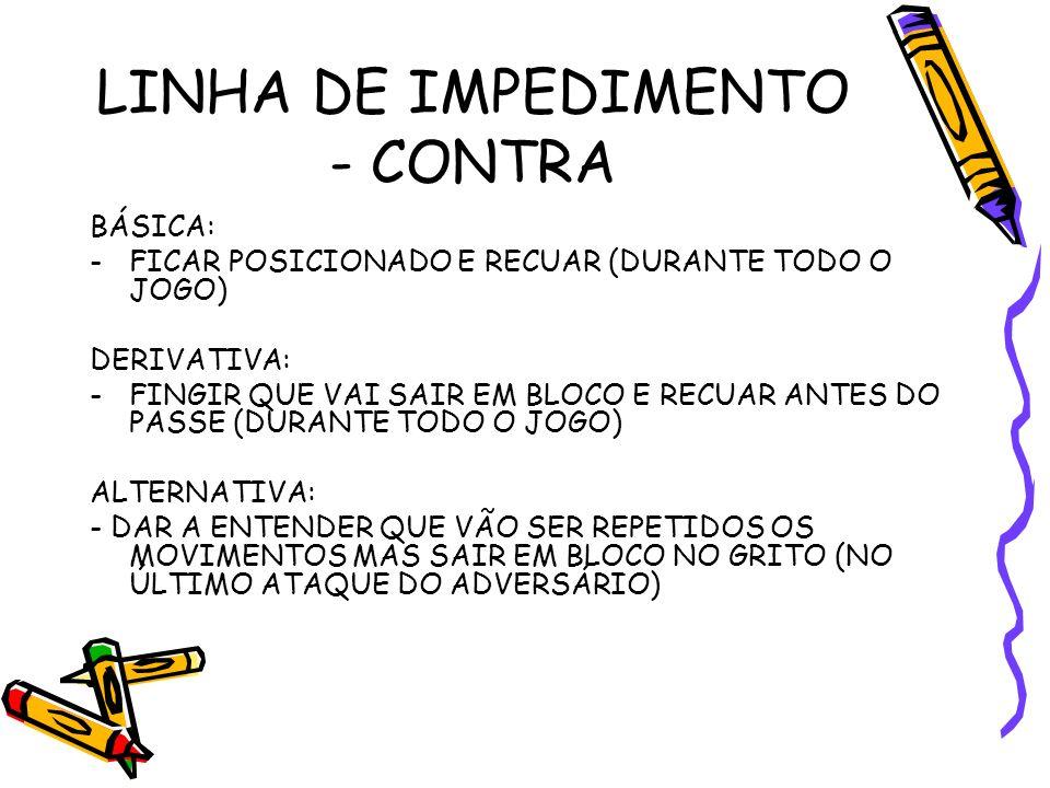 LINHA DE IMPEDIMENTO - CONTRA