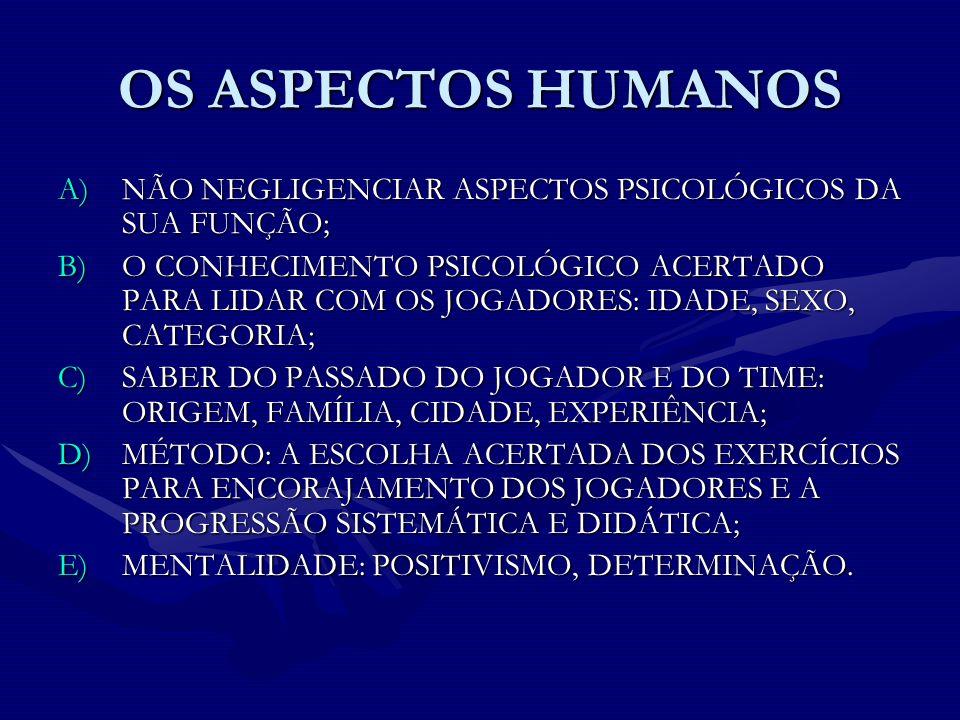 OS ASPECTOS HUMANOS NÃO NEGLIGENCIAR ASPECTOS PSICOLÓGICOS DA SUA FUNÇÃO;