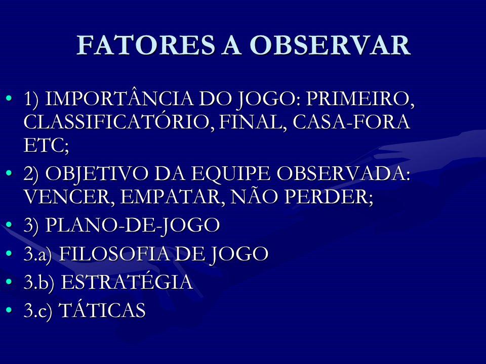 FATORES A OBSERVAR 1) IMPORTÂNCIA DO JOGO: PRIMEIRO, CLASSIFICATÓRIO, FINAL, CASA-FORA ETC;