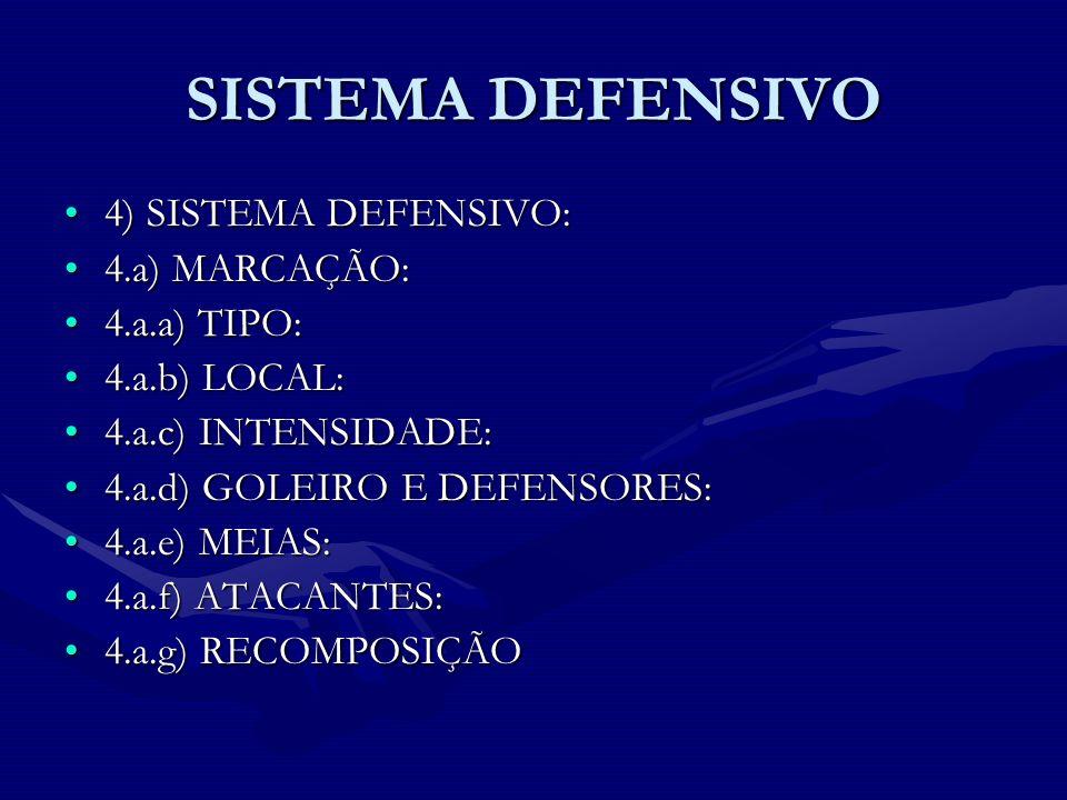 SISTEMA DEFENSIVO 4) SISTEMA DEFENSIVO: 4.a) MARCAÇÃO: 4.a.a) TIPO: