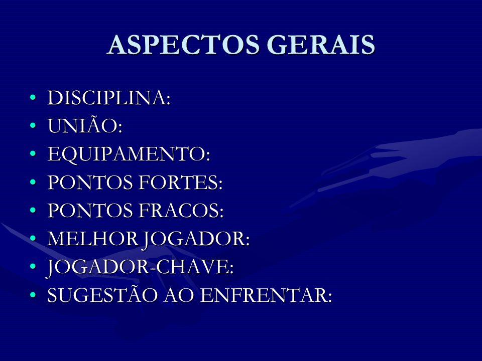 ASPECTOS GERAIS DISCIPLINA: UNIÃO: EQUIPAMENTO: PONTOS FORTES:
