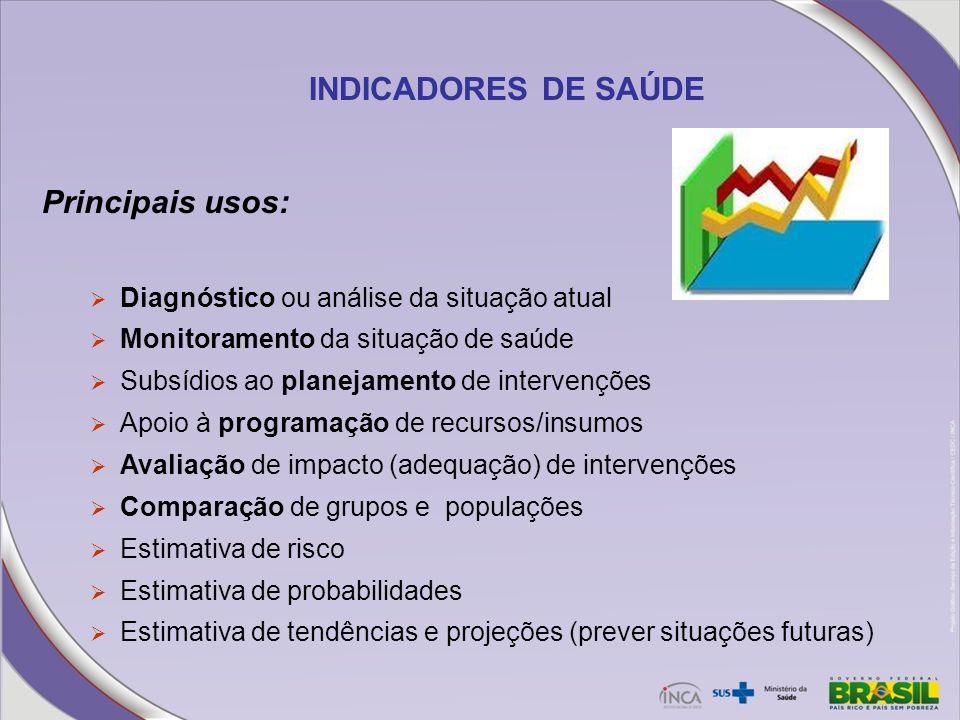 INDICADORES DE SAÚDE Principais usos: