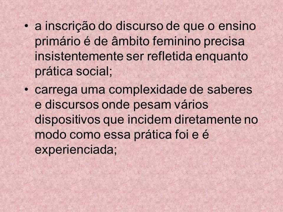 a inscrição do discurso de que o ensino primário é de âmbito feminino precisa insistentemente ser refletida enquanto prática social;