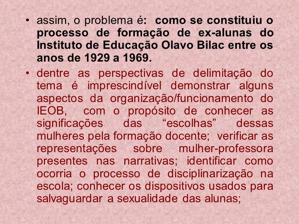 assim, o problema é: como se constituiu o processo de formação de ex-alunas do Instituto de Educação Olavo Bilac entre os anos de 1929 a 1969.