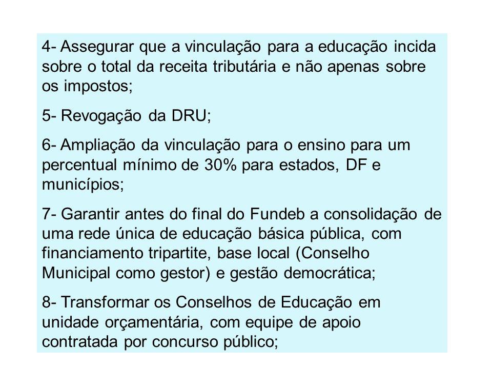 4- Assegurar que a vinculação para a educação incida sobre o total da receita tributária e não apenas sobre os impostos;