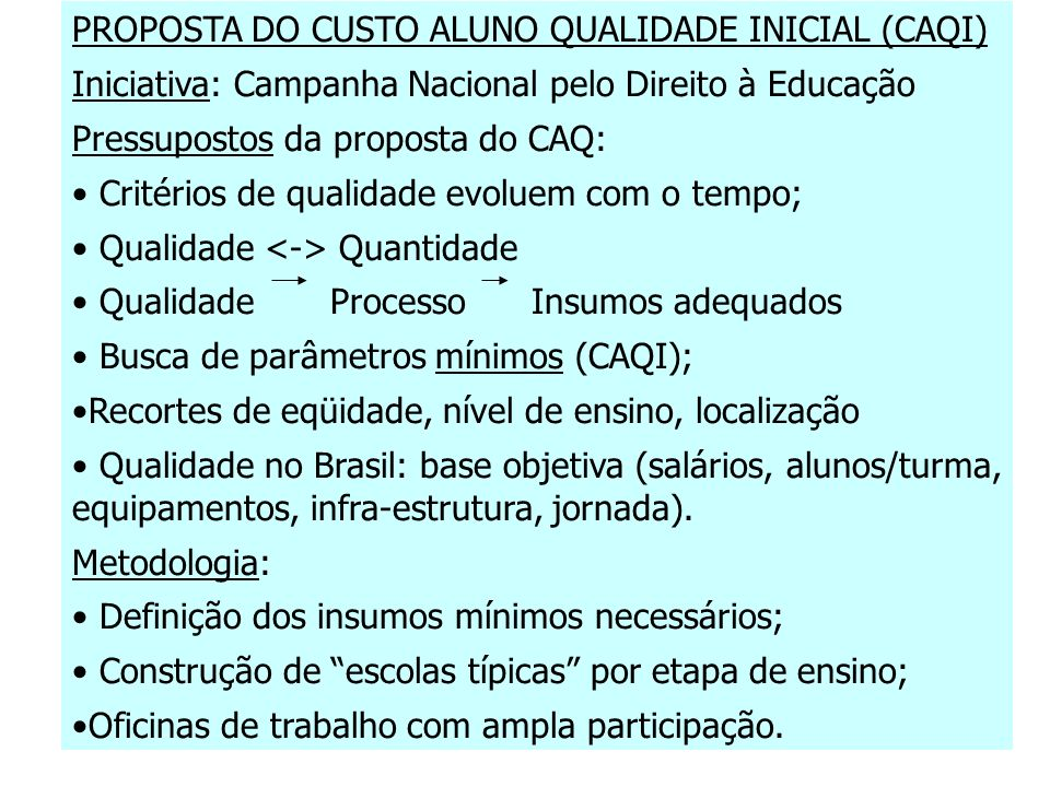 PROPOSTA DO CUSTO ALUNO QUALIDADE INICIAL (CAQI)