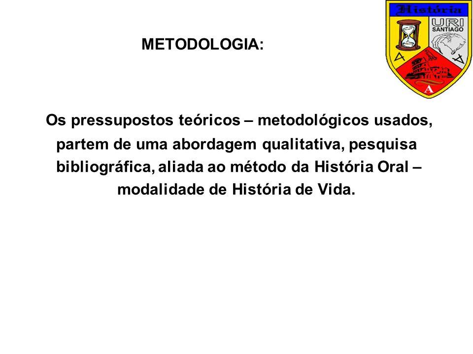 Os pressupostos teóricos – metodológicos usados,