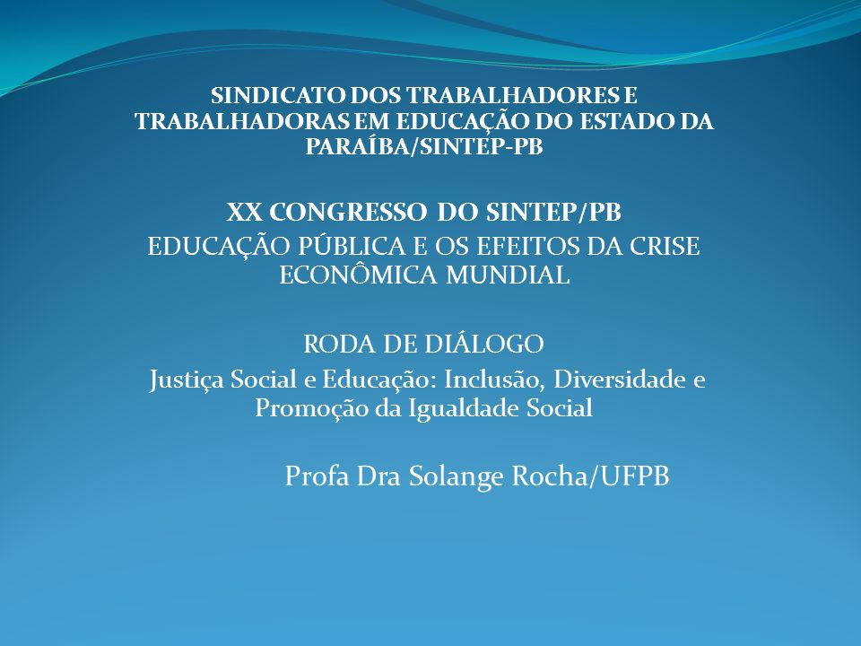XX CONGRESSO DO SINTEP/PB