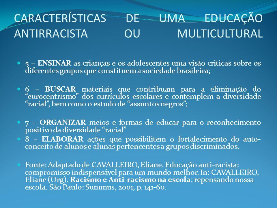 CARACTERÍSTICAS DE UMA EDUCAÇÃO ANTIRRACISTA OU MULTICULTURAL