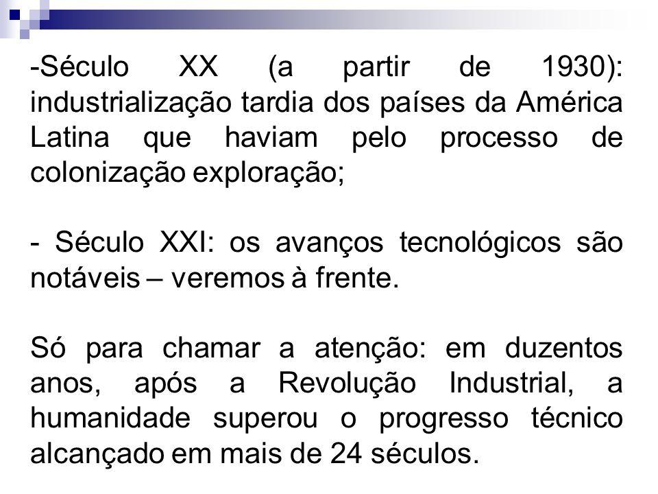 Século XX (a partir de 1930): industrialização tardia dos países da América Latina que haviam pelo processo de colonização exploração;