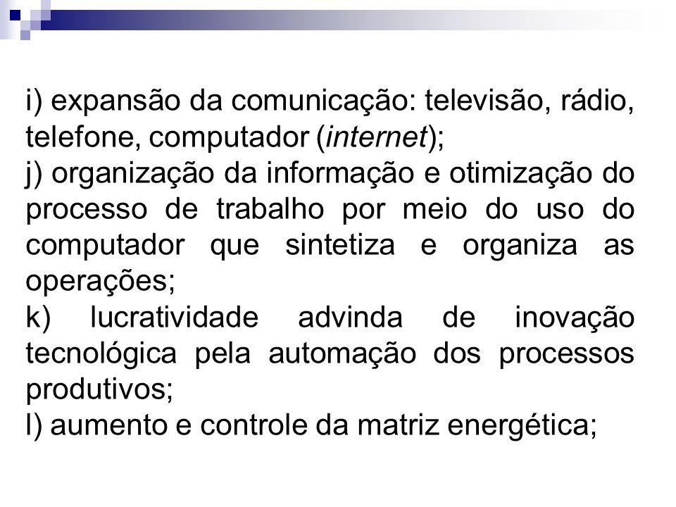 i) expansão da comunicação: televisão, rádio, telefone, computador (internet);