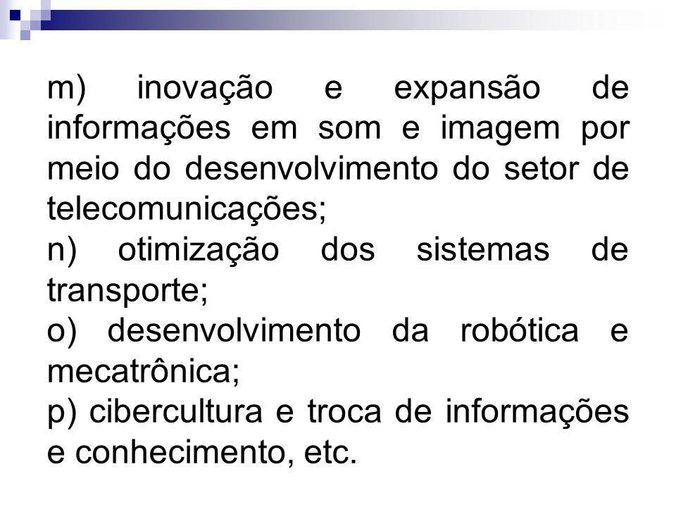 m) inovação e expansão de informações em som e imagem por meio do desenvolvimento do setor de telecomunicações;